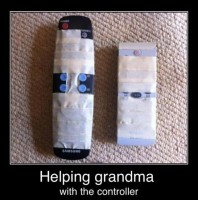 My good son is often asked to help Grandma Joy.