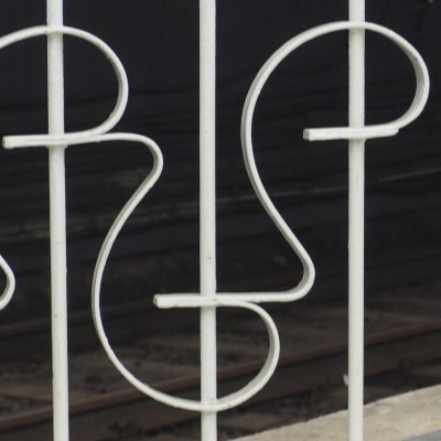 Painted Iron Fence Smiley