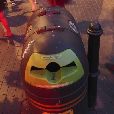 Trash and Recycling Receptacle Smiley
