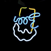 Upside Down Neon Beer Sign Smiley, #SMILEYface #Smiley