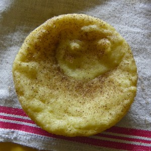 Snickerdoodle Smiley Baked in a cupcake pan.