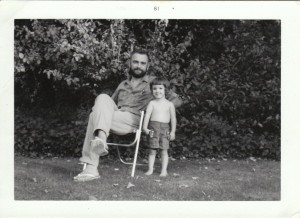 My dad and me, 1961. yes, I am that old. Thanks for acting surprised. This is the one and ONLY picture of me topless that  you will find on the internet!