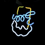 Upside-down Neon Beer Sign Smiley